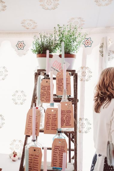Step Ladder Table Plan Decor | Marquee Reception at Wise Wedding Venue in Kent | Lemonade Pictures