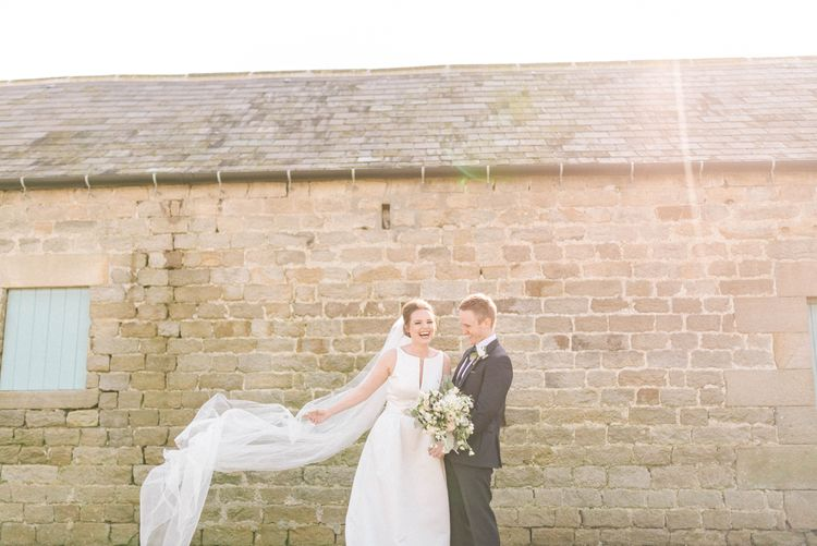 Jesus Peiro Wedding Dress With Pockets And Bridesmaids In Sky Blue Multiway Dresses At Healey Barn Northumberland With Images By Sarah Jane Ethan