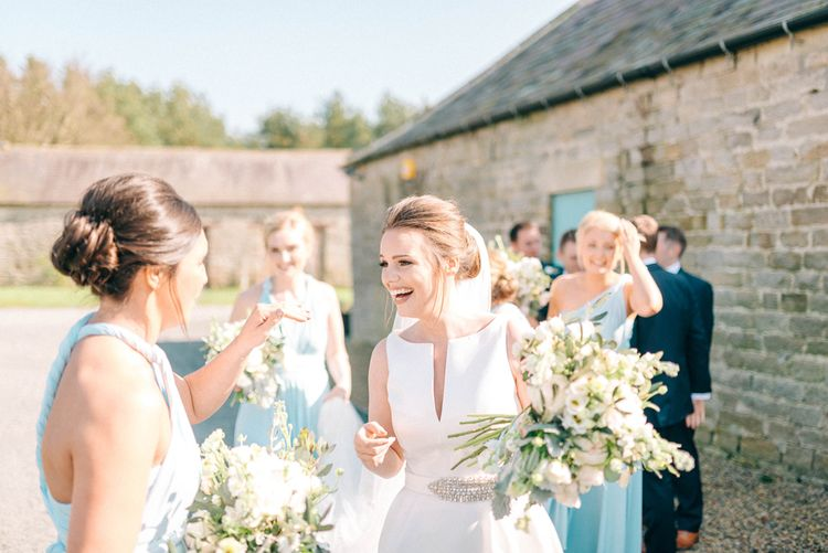 Bridesmaids In Blue Multiway Dresses