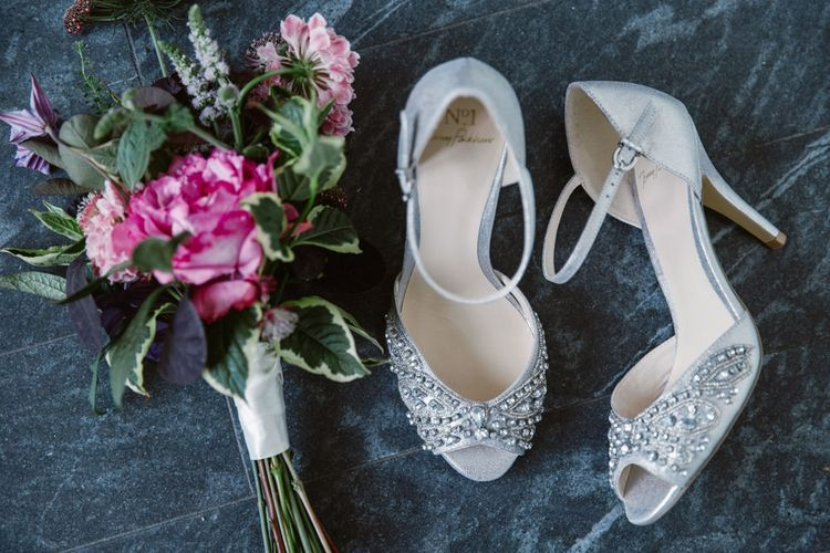 Jenny Packham Embellished Silver Wedding Shoes | Natalie J Weddings