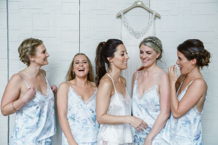 Bridesmaids in Matching Robes | Natalie J Weddings