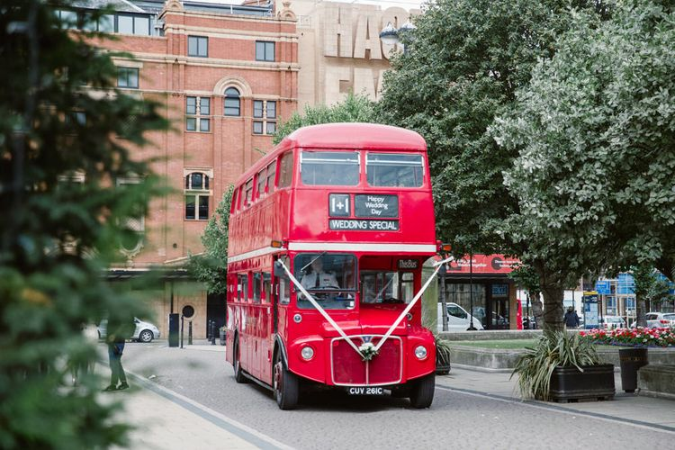 London Bus | Bride in Jenny Packham Wedding Dress | Natalie J Weddings