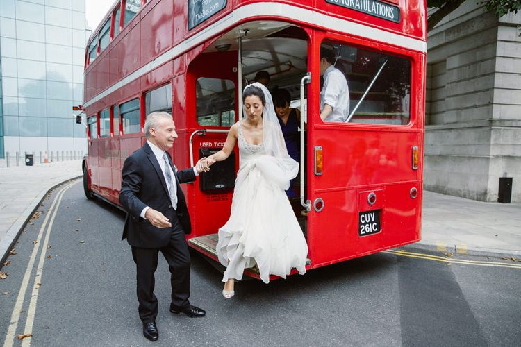 Bridal Entrance | London Bus | Bride in Jenny Packham Wedding Dress | Natalie J Weddings