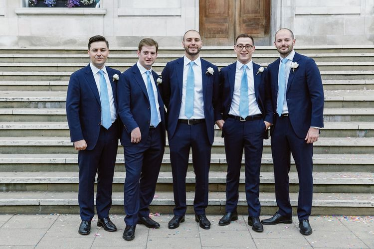 Groomsmen in Suit Supply | Hackney Town Hall Wedding | Natalie J Weddings