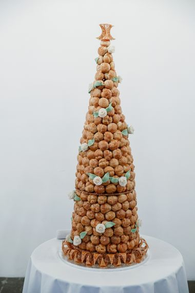 Croque en Bouche Wedding Cake | Alva Studios, London Wedding Reception | Natalie J Weddings