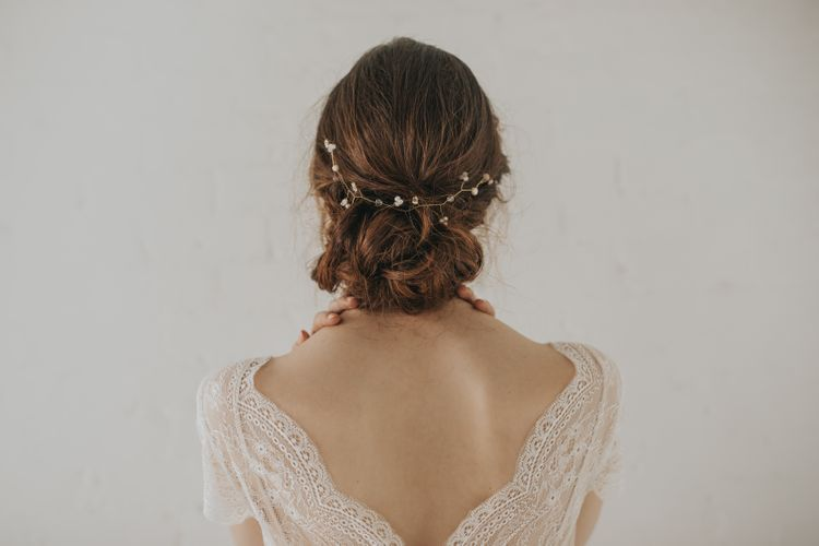 Aphrodite crystal and pearl gold hair vine by Chez Bec
