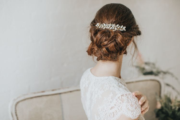 Chasca crystal and pearl hair comb by Halo and Co