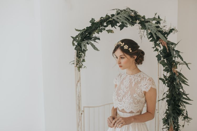 Halo gilded blossoms headpiece by Halo and Co