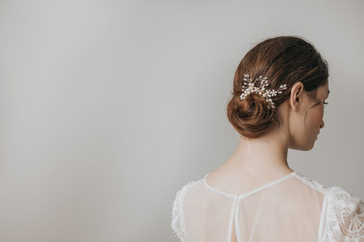 Heather pearl and marquise crystal sprigs hair comb by Lily Bella