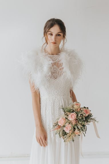 Ivory ostrich feather bridal bolero
