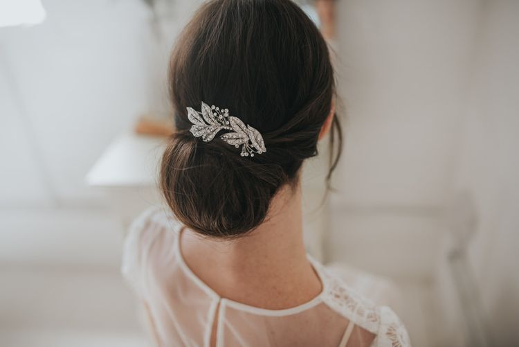 London crystal embellished leaves and sprigs hair comb by Halo and Co