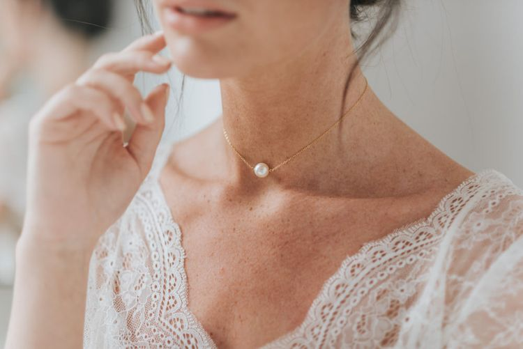 Luna pearl chain choker necklace by Chez Bec
