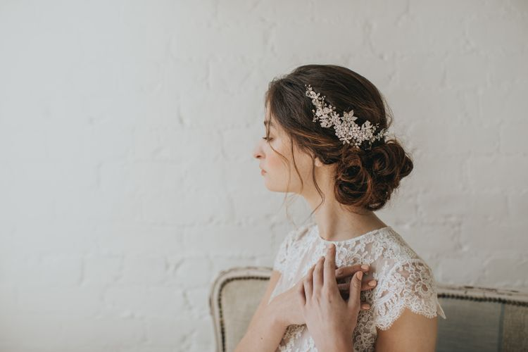 Lux curved crystal blossoms and sprigs headpiece by Halo and Co