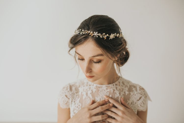 Philomena blossoms and leaves gilded headpiece by Halo and Co