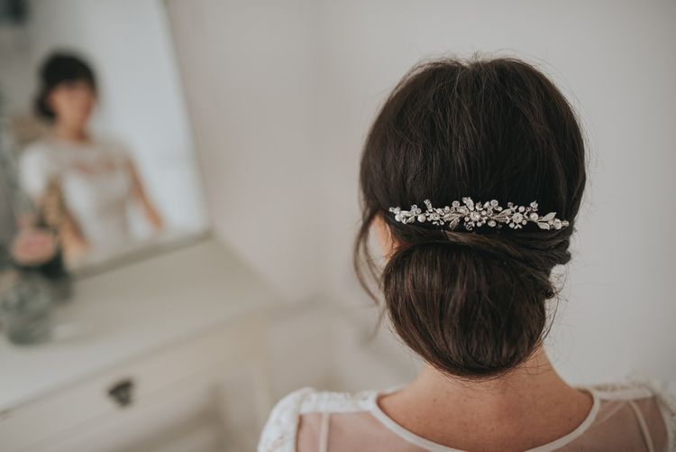 Tanya crystal and pearl embellished hair comb by Halo and Co
