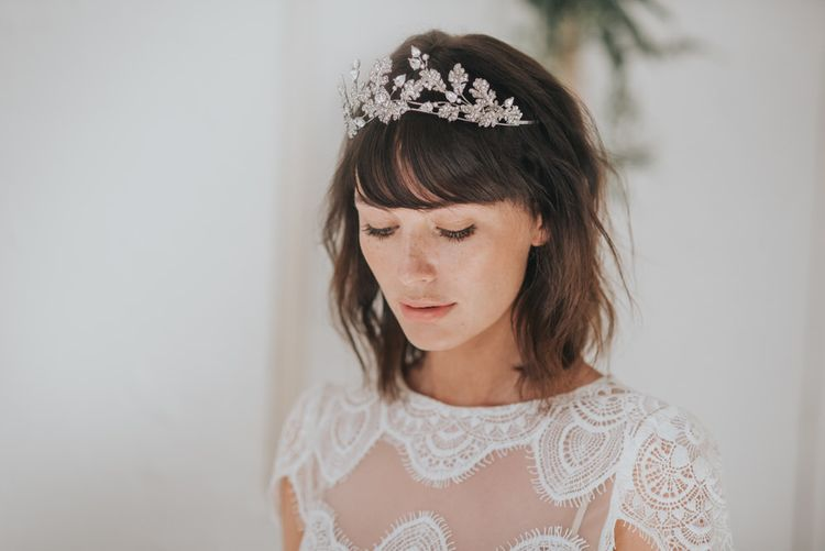Valkyrie crystal embellished leaves headpiece by Ivory and Co