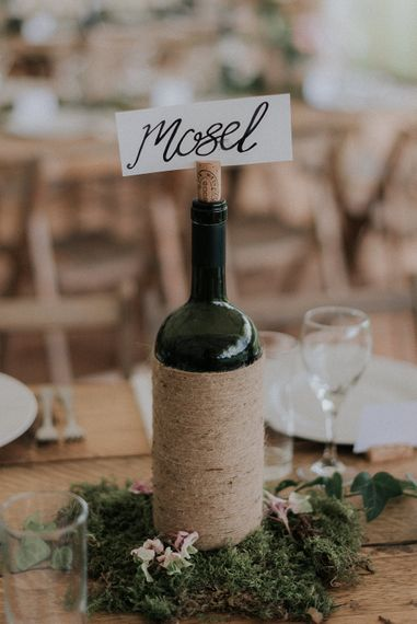 Wine Bottle Wrapped in Twine Table Centrepiece