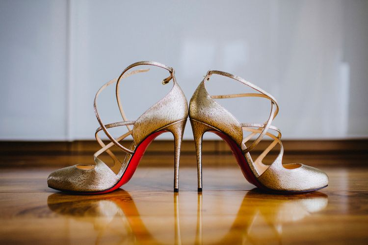 Metallic Louboutin Sandals For Wedding Image By Steve Gerrard Photography
