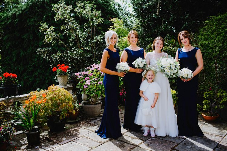 Bridesmaids In Navy Ghost Dresses