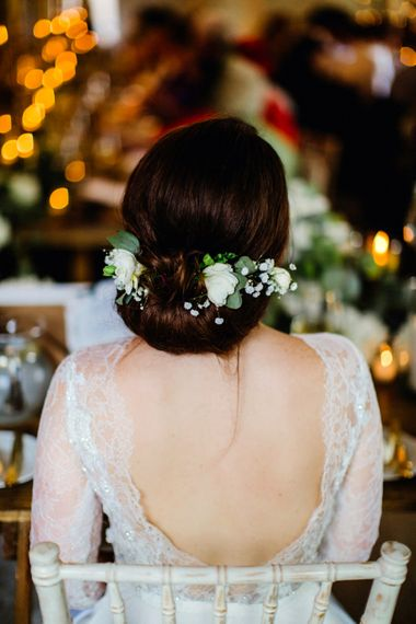 Bride With Up Do Decorated With Fresh Flowers