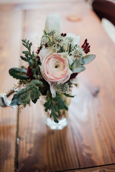 Bouquets For Winter Wedding With Dahlia, Roses & Thistles