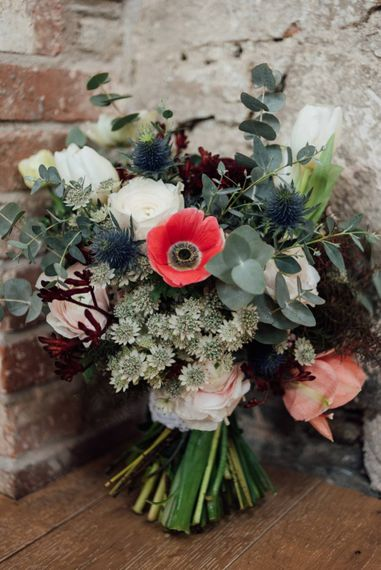 Winter Bridal Bouquet With Anemones