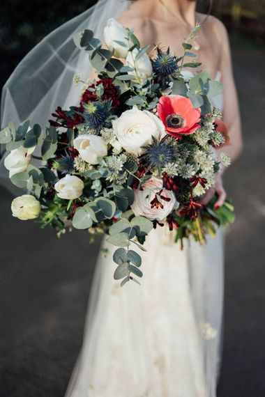 Winter Wedding Bouquet With Anemones