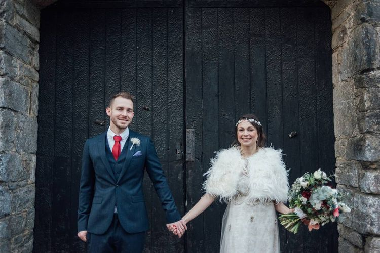 Anran Devon Christmas Winter Wedding With Bride In Claire Pettibone & A Hog Roast Dinner In Glasshouse With Images From Liberty Pearl Photography