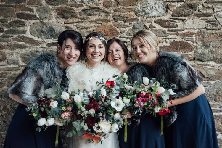 Bridesmaids In Navy For Christmas Wedding