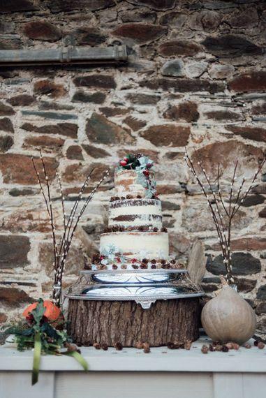 Winter Wedding Cake Naked Wedding Cake
