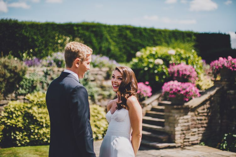 First Look | Bride in Karen Willis Holmes Gown | Groom in Whitfield & Ward Suit | Hedsor House Wedding | RS Brown Photography