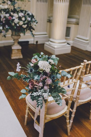 Chair Back Flowers | Hedsor House Wedding | RS Brown Photography