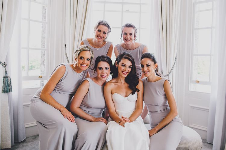 Bride in Karen Willis Holmes Gown | Grey Katie May Bridesmaid Dresses | Hedsor House Wedding | RS Brown Photography