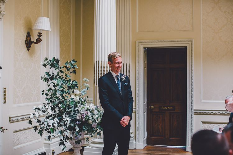 Wedding Ceremony | Groom in Whitfield & Ward Suit | Hedsor House Wedding | RS Brown Photography