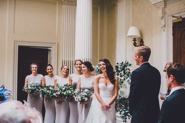 Wedding Ceremony | Grey Katie May Bridesmaid Dresses | Hedsor House Wedding | RS Brown Photography