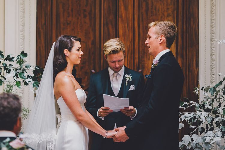 Wedding Ceremony | Bride in Karen Willis Holmes Gown | Groom in Whitfield & Ward Suit | Hedsor House Wedding | RS Brown Photography