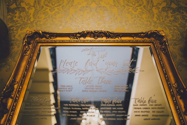Gold Guilt Mirror Table Plan | RS Brown Photography