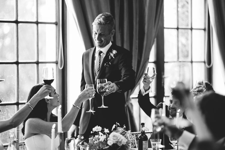 Speeches | Groom in Whitfield & Ward Suit | Hedsor House Wedding | RS Brown Photography