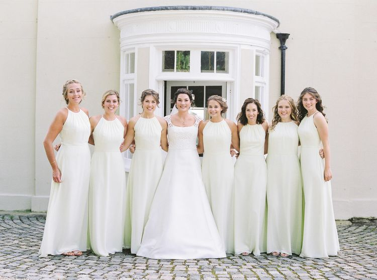 Bridesmaids In Pale Green Dessy Gowns // Elegant & Classic Sail Cloth Tent Wedding At Wickham House With Bride In Pronovias And Images From Fine Art Photographer Julie Michaelsen