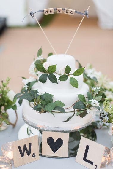 White Wedding Cake With Foliage