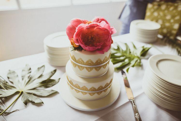 Wedding Cake with Peony Topper | Tropical Trinity Buoy Wharf Wedding | Matt Penberthy Photography