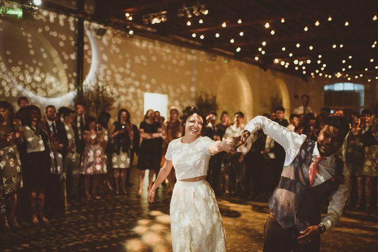 First Dance | Bride in Ted Baker Separates | Groom in Hugo Boss | Tropical Trinity Buoy Wharf Wedding | Matt Penberthy Photography