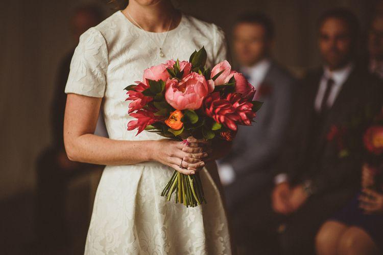 Coral Pink Peony Wedding Bouquet | Tropical Trinity Buoy Wharf Wedding | Matt Penberthy Photography