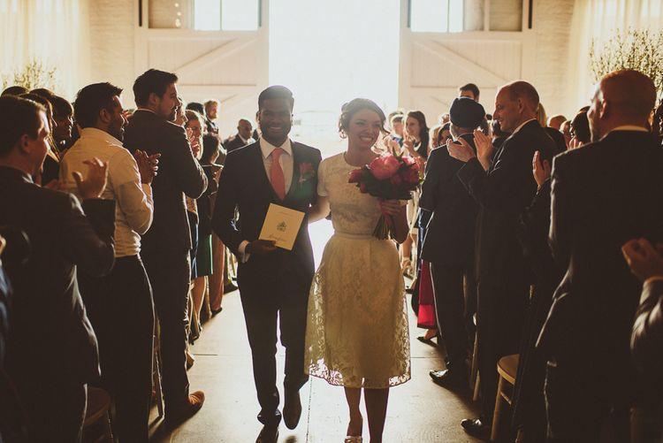 Wedding Ceremony | Bride in Ted Baker Separates | Groom in Hugo Boss | Tropical Trinity Buoy Wharf Wedding | Matt Penberthy Photography