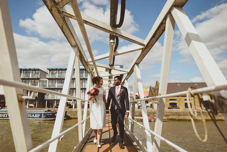 Thames Boat Ride | Bride in Ted Baker Separates | Groom in Hugo Boss | Tropical Trinity Buoy Wharf Wedding | Matt Penberthy Photography