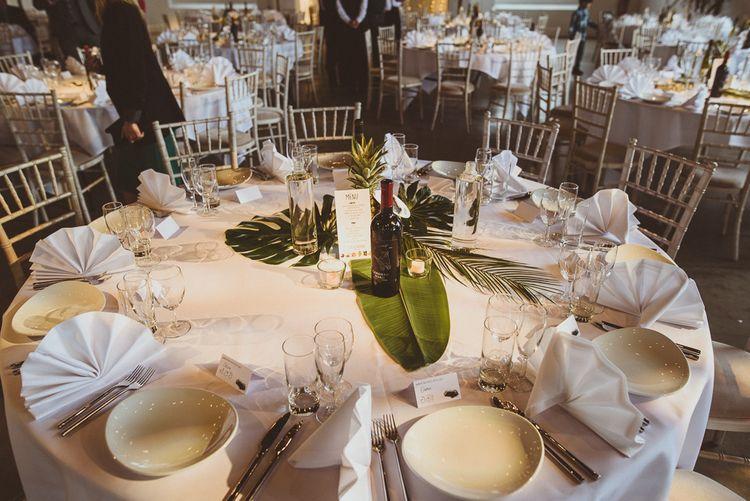 Fern Leaves & Pineapple Centrepieces | Tropical Trinity Buoy Wharf Wedding | Matt Penberthy Photography