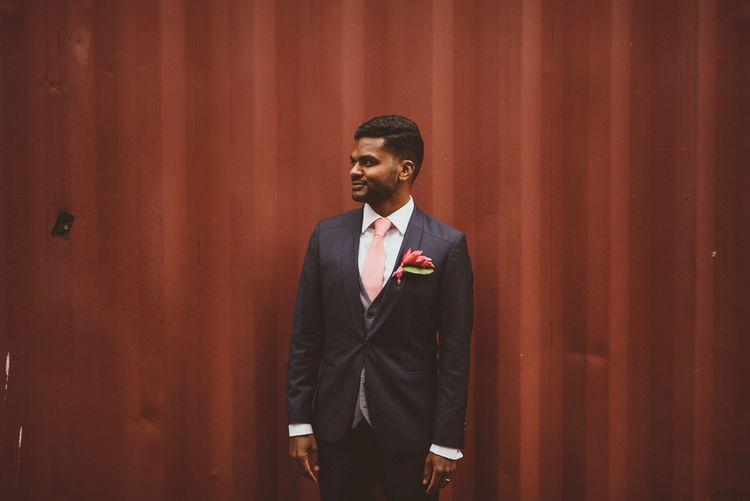 Pink Wedding Tie | Groom in Hugo Boss | Tropical Trinity Buoy Wharf Wedding | Matt Penberthy Photography