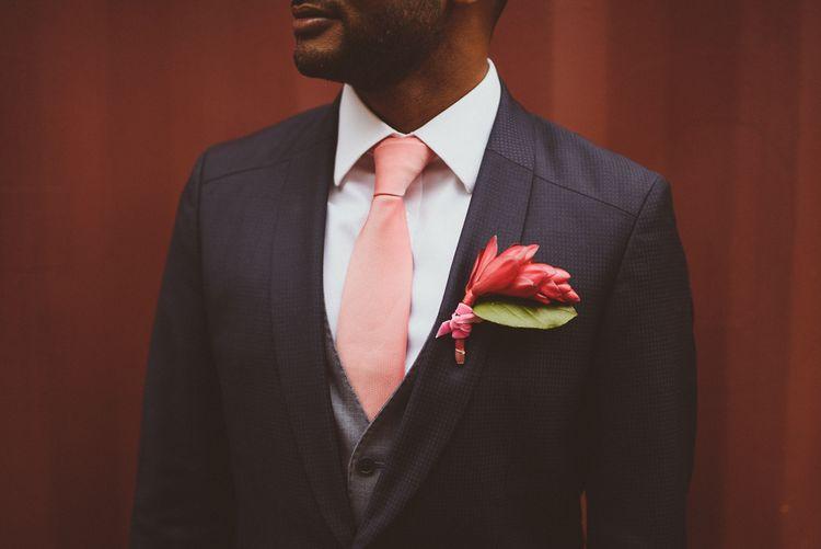Bright Pink Buttonhole | Groom in Hugo Boss | Tropical Trinity Buoy Wharf Wedding | Matt Penberthy Photography