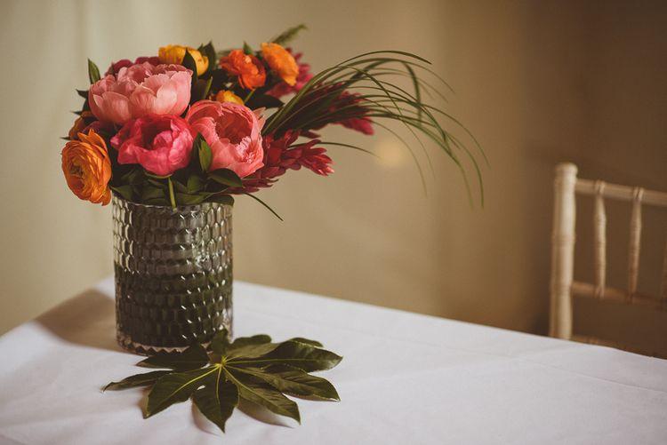 Coral Peony Wedding Flowers | Tropical Trinity Buoy Wharf Wedding | Matt Penberthy Photography