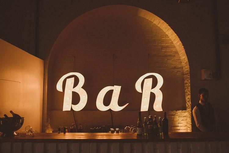 Bar LED Light Sign | Tropical Trinity Buoy Wharf Wedding | Matt Penberthy Photography